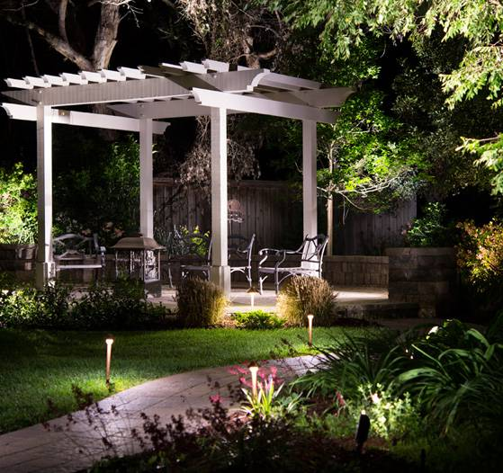 A gazebo scene that was transformed with outdoor lighting design.