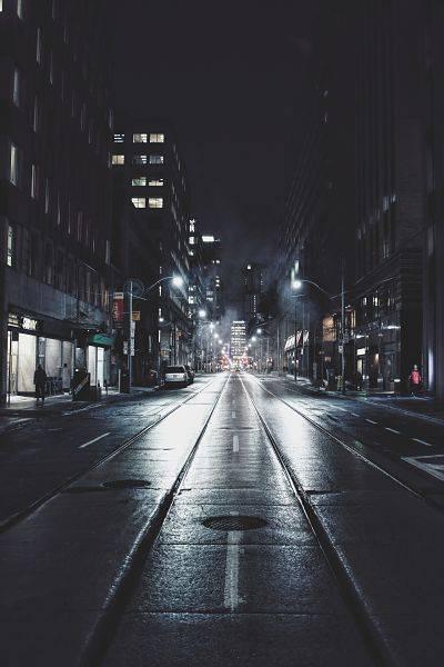 Lighting on street in an urban area.