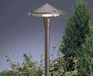 Exterior lighting fixture standing outside.