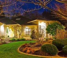 Exterior lighting on a home.