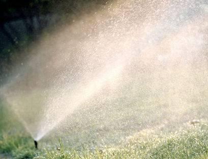 Winterize your lawn sprinkler - sprinkler in action.