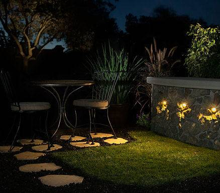 Landscape lighting installation company, American National, set up lighting for the outside bar area.