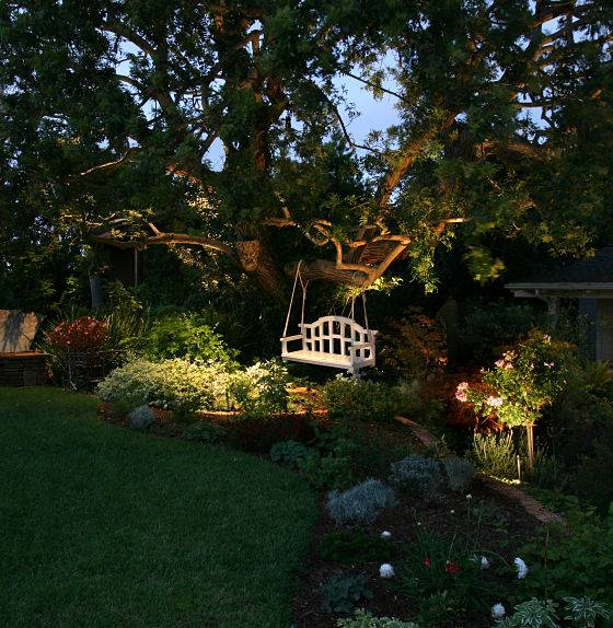 Security landscape lighting company - bench lighting by American National.