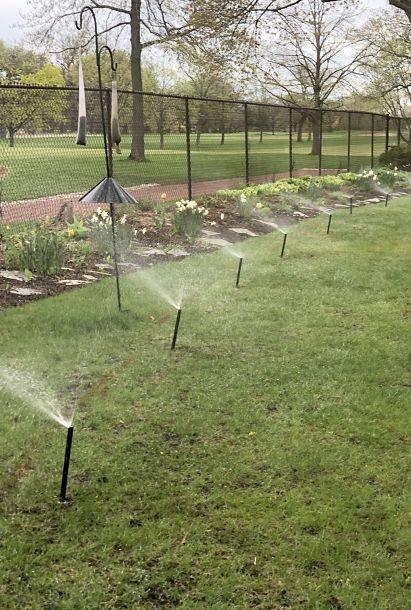 American National's yard sprinkler system in action.