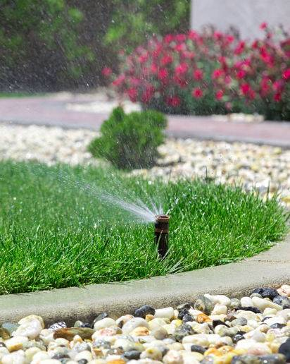 Automatic yard sprinkler system in action.