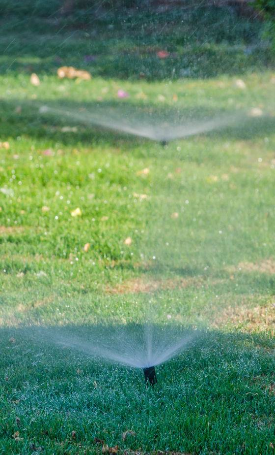 Automatic watering system - two sprinkler heads watering a client's yard.