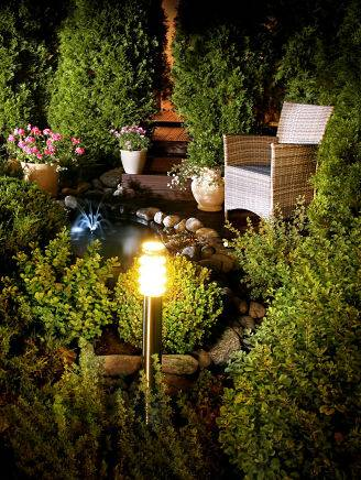 Outdoor accent lighting in a garden area.