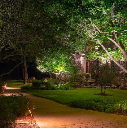 Architectural lighting design - pathway lighting on a suburban house.