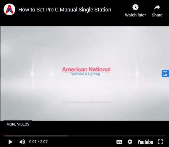 How To Set Pro C Manual Single Station | American National