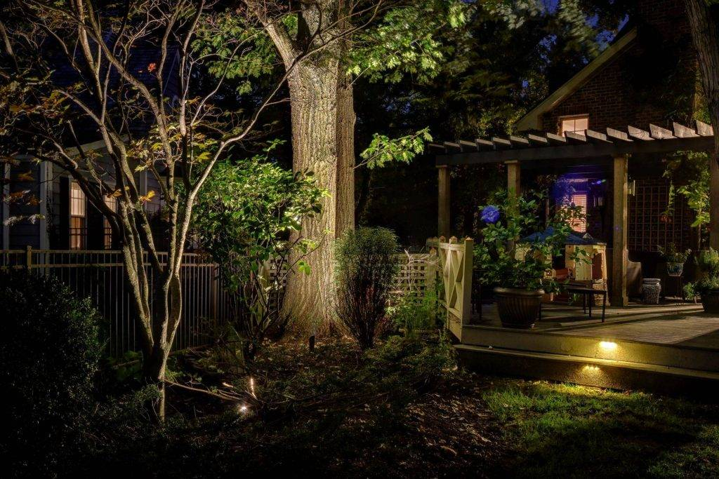 American National Sprinkler & Lighting - outdoor lighting system to illuminate their trees and patio.