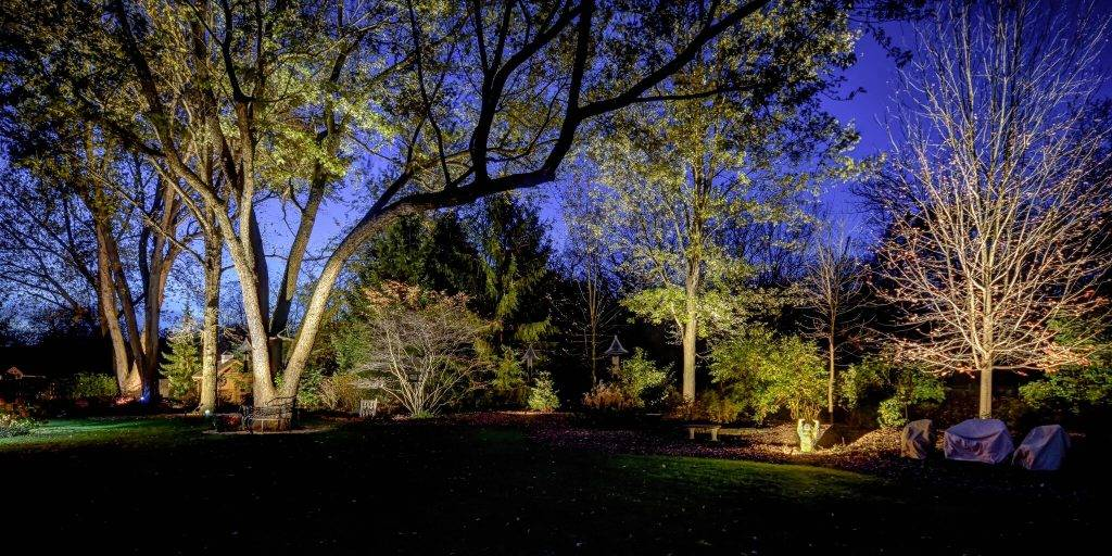 American National Sprinkler & Lighting - automatic lighting system illuminating trees and landscape beds in the backyard.