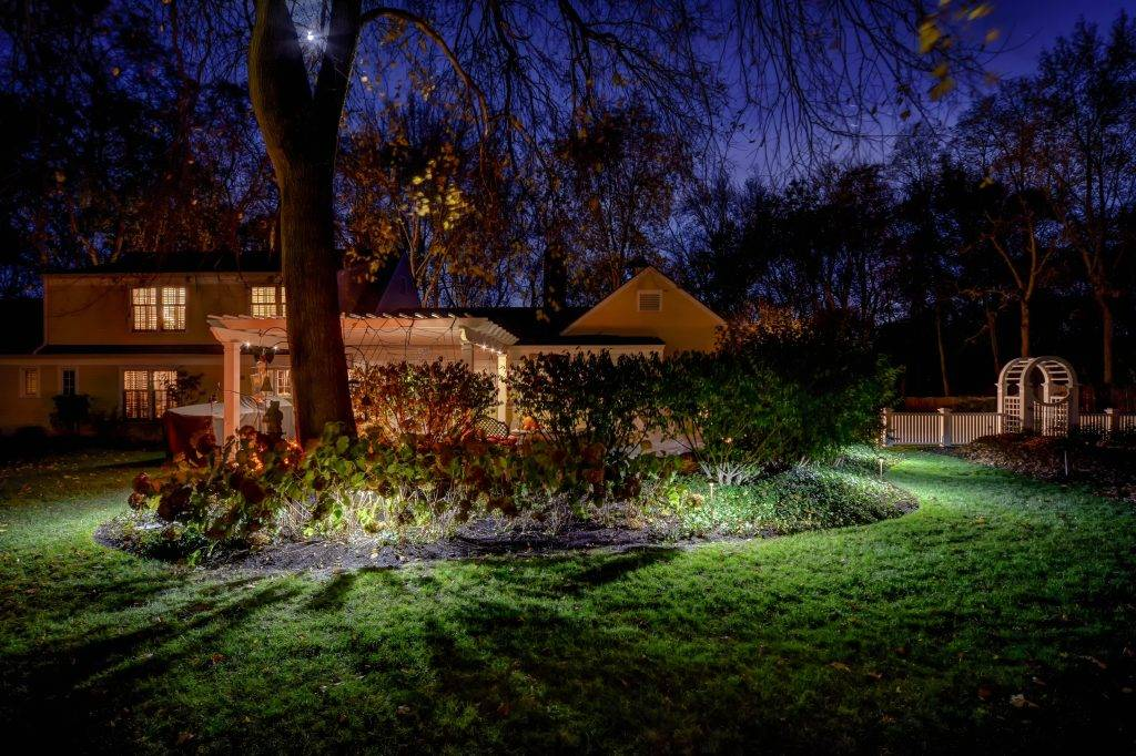 American National Sprinkler & Lighting - automatic lighting system illuminating a landscape bed in a backyard.
