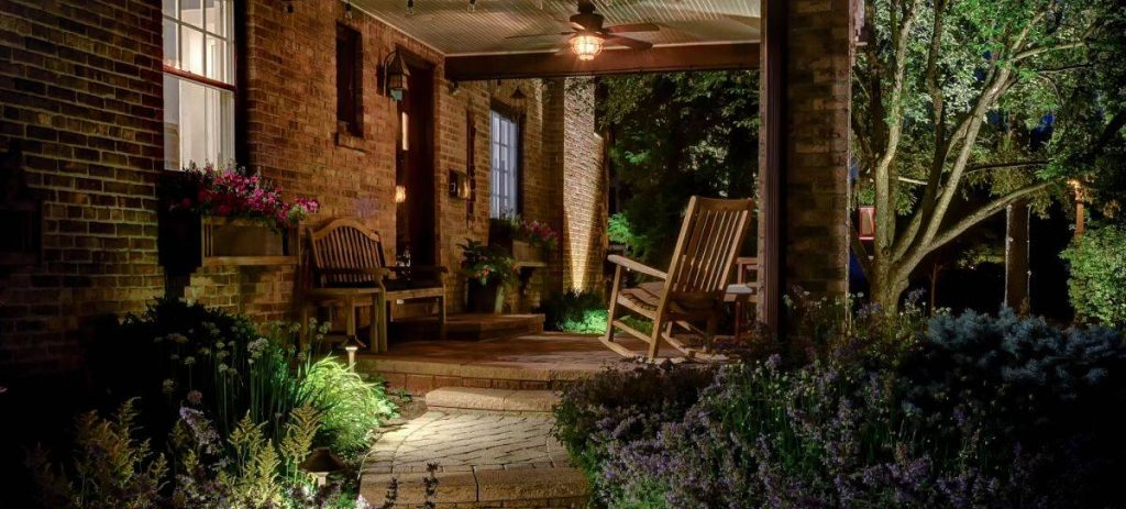American National Sprinkler & Lighting - a home in Libertyville, IL with an outdoor landscape lighting and front yard lighting.