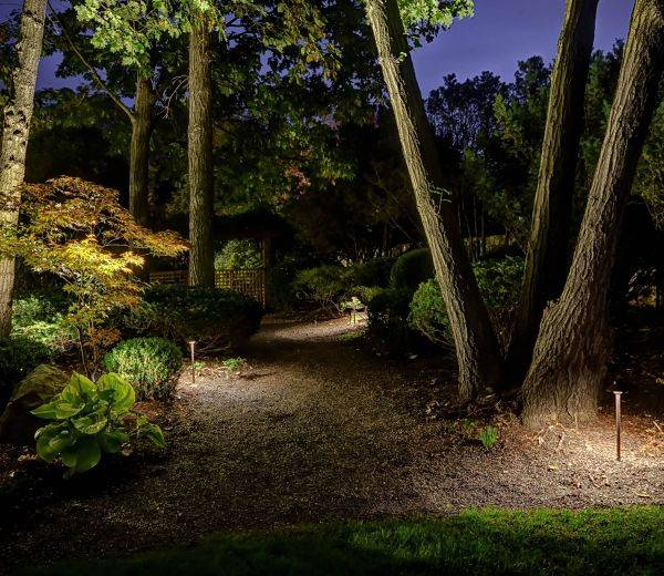American National Sprinkler & Lighting - a home in Northbrook, IL with an outdoor landscape lighting and pathway lighting.